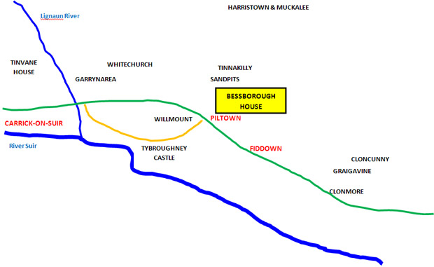 BRISCOE PROPERTIES IN SOUTH KILKENNY (not to scale)