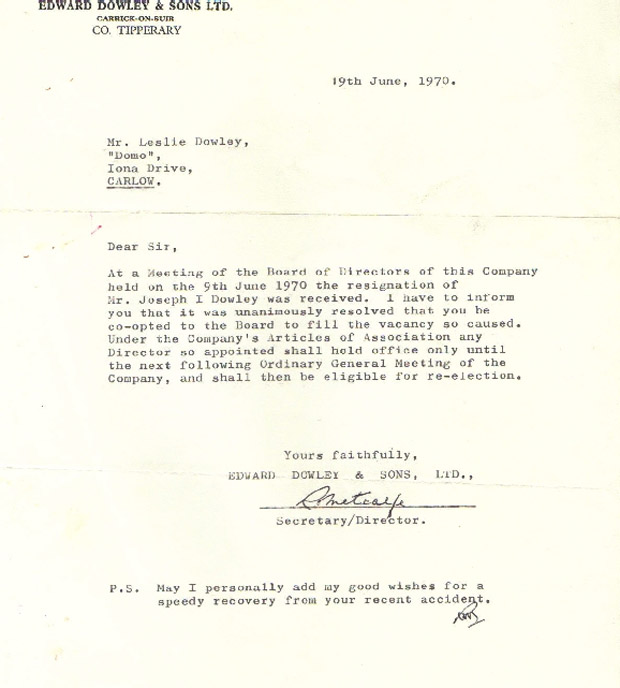 Letter of co-option of Leslie Dowley as a director of Edward Dowley & Sons Ltd. in place of his grand-father, Joseph I. Dowley, who had resigned.
