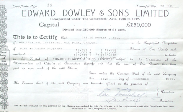Share certificate of Edward Dowley & Sons Ltd.