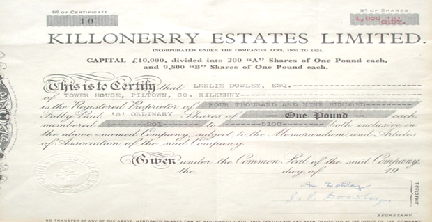 Share certificate for in Killonerry Estates Ltd.